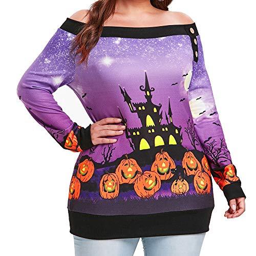 LOPILY Schulterfrei Oberteil Damen Halloween Kostüme Damen Kürbis Sweatshirt Halloween Burg Frankenstein Shirts 3D Tshirt Schulterfreie Oberteile Sensenmann Muster Gruselige Tops Sexy (Lila, 44)