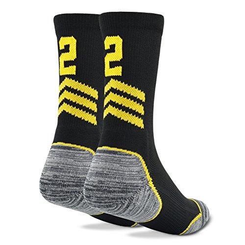 Athletic Boy's Crew Socks, Funcat Girls' Youth Child Sports Socks For Basketball Soccer Football Black 1 Pair