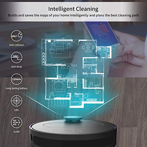 360 Robot Vacuum and Mop Cleaner, Works with Alexa, Intelligent Cleaning with 1800Pa Super Power Suction, Laser Navigating,Multi-Map Management, Up to 110Min for Pet Hair, Carpet and Hard Floor Black