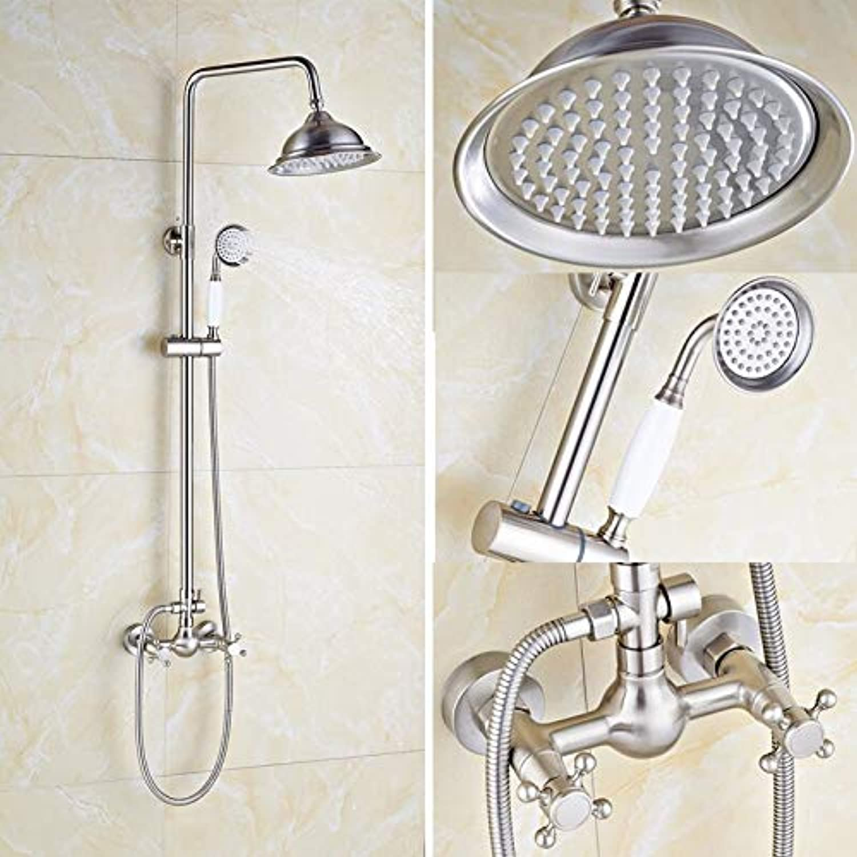 Gebürstetes Nickel Badezimmer Dusche Set Wasserhahn 8 Zoll Duschkopf mit Handbrause aus massivem Messing