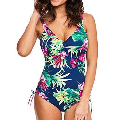 Bikini de Traje de Baño de una Pieza Estampado para Mujer Surf Tallas Grandes Monokini Push Up Sexy V-Cuello Verano Traje de Baño Atlético Mujeres Retro Bikinis riou
