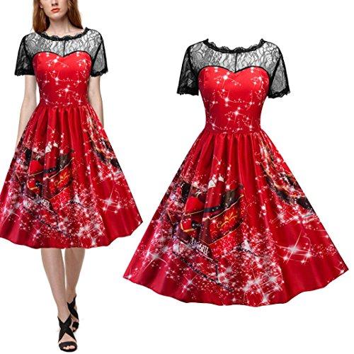 VENMO Frauen Swing Kleid Weihnachten Print Lace Yoke Kurzarm Abendkleid Vintage Spitze Kleid Rockabilly mit Weihnachtsmann Festlich Kleid Partykleid Klassisch Jahre Retro Cocktailkleid (Sexy Red, S)