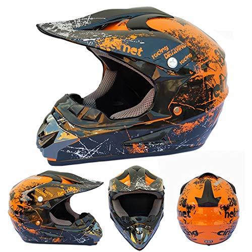 XiuyJBD Motorhelm voor volwassenen, motorcross, full face off-road bergabgab-road helm kinderen jeugd quad crash dirt bike MX ATV motorfiets voor jongens meisjes (DOT-gecertificeerd)