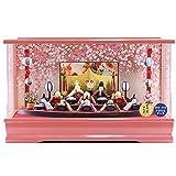 雛人形 コンパクト プレミアム 扇面三段 わらべ雛 10人揃い まり飾り オルゴール付 パールピンク アクリルケース飾り リュウコドウ ひな人形 HNRK-MRT-B