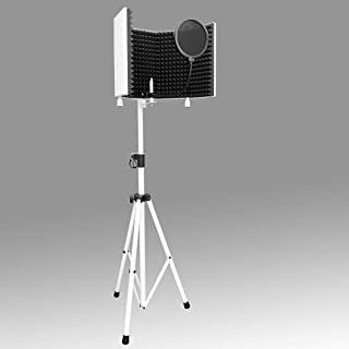 AxcessAbles SF-101KIT-W White Recording Studio Microphone Isolation Shield W/Stand (White)
