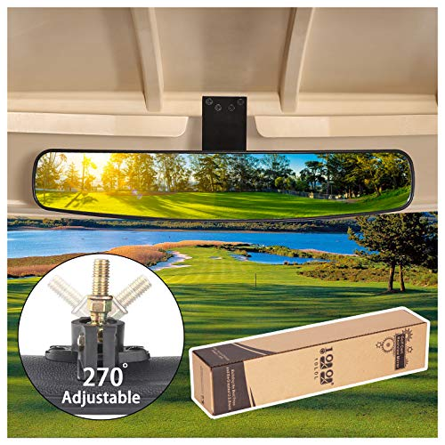 """10L0L Universal Golf Cart Rear View Mirror, Newest 16.5"""" Extra Wide Panoramic 270 Degree Rear View Mirror for EZGO Club Car Yamaha"""