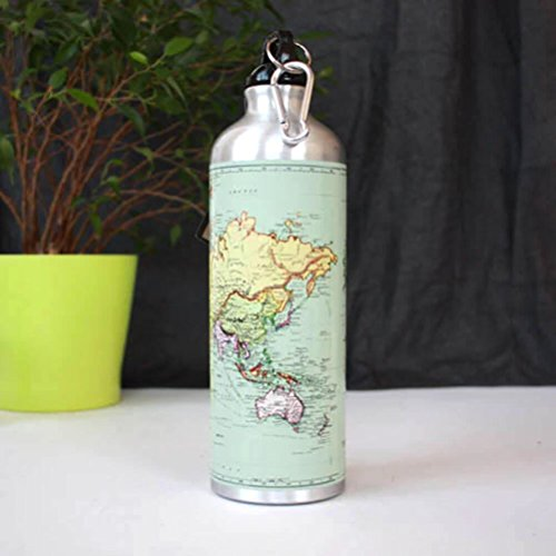 Gift Republic Man of The World Map Gourde Argenté