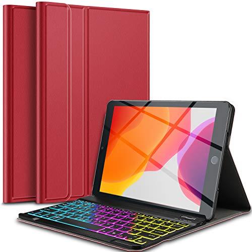 IVSO Beleuchtete Tastatur Hülle für iPad 10.2 2019, [QWERTZ Deutsches], Ultradünn Ständer Schutzhülle mit magnetisch abnehmbar 7-farbigen Beleuchtung Tastatur für iPad 10.2(iPad 7. Generation), Rot