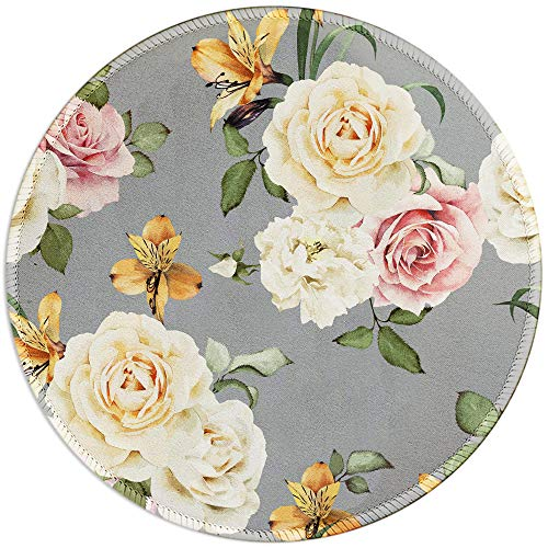 BOSOBO Mouse Pad, Blooming Rose Round Mousepad, Customized Gaming Mouse Mat for Laptop, Computer & PC, Durable Stitched Edges, Non-Slip Rubber Base, Enhanced Thickness, Waterproof