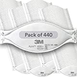 3M Aura Particulate Respirator 9205+, N95, Pack of 440 Disposable Respirators, Individually Wrapped, 3 Panel Flat Fold Design Allows for Facial Movements, Comfortable, NIOSH Approved