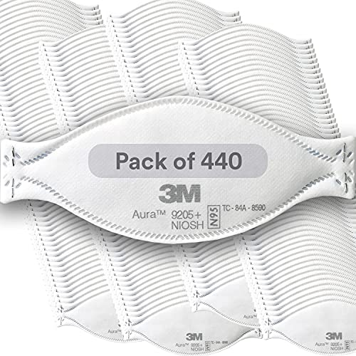 3M Aura Particulate Respirator 9205+, N95, 440/Pack, Disposable, Grinding, Sanding, Sawing, Sweeping, Dust, 3 Panel Flat Fold