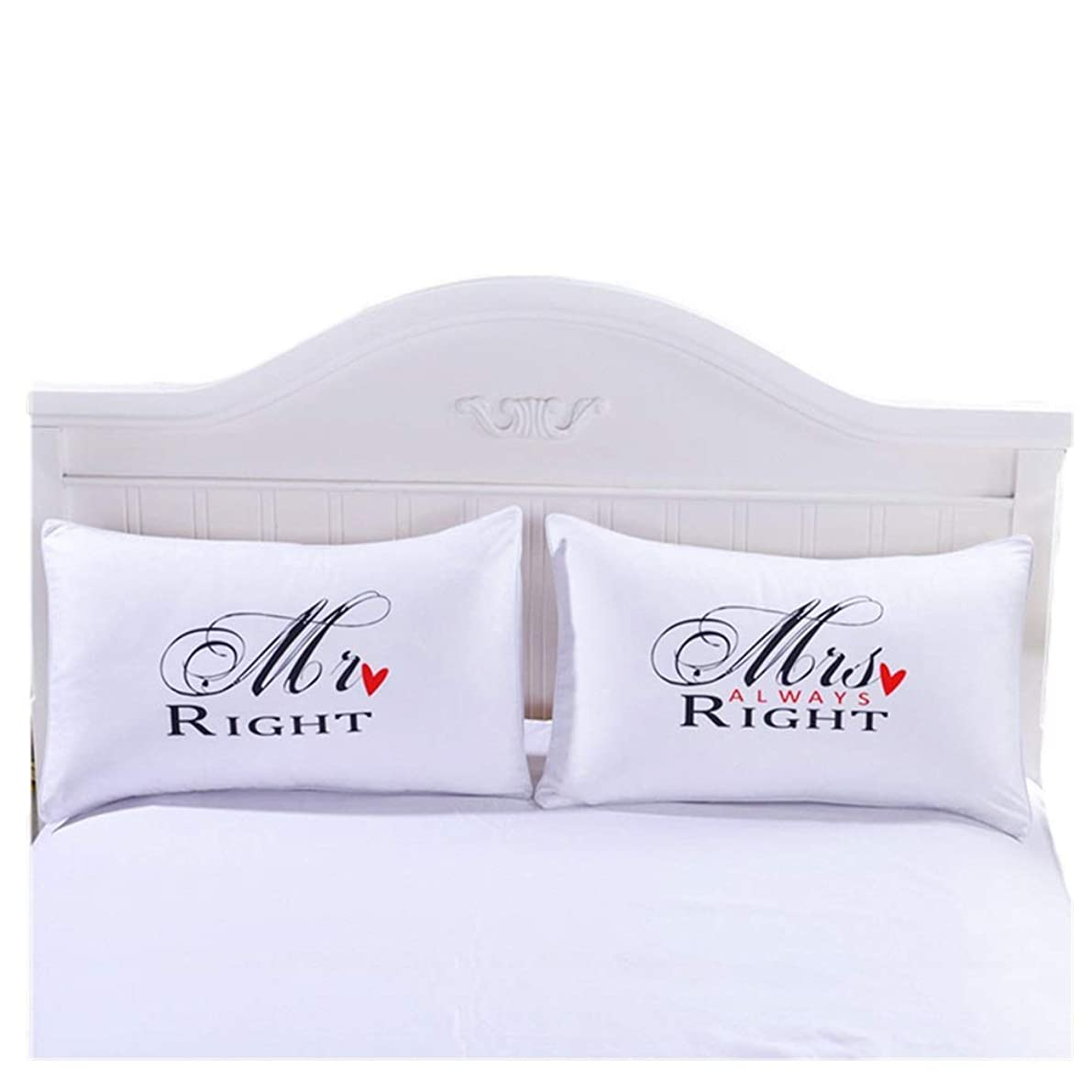 CheeseandU Mr.Right & Mrs.Always Right Couples Pillowcase Set, Romantic Gift Idea for Couples, Valentines Day, Anniversary, Wedding, Engagement, for Him and Her in Love, White&Black(3519iInch)