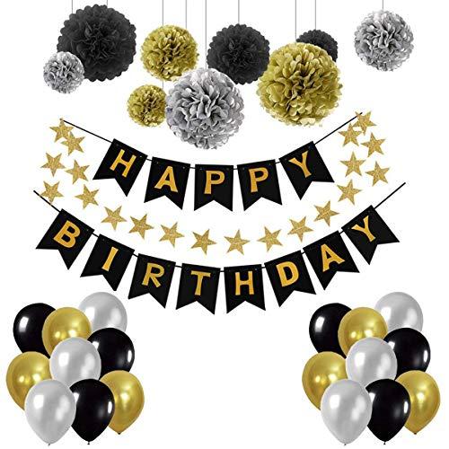 Herefun Decoración Cumpleaños, Decoraciones Fiesta de Cumpleaños, 1 Happy Birthday Bandera, 30 Globos, 9 Tissue Pom Poms, 20 Decoración de estrellas Kit Lote Decoraciones para Chicas, Chicos y Adultos