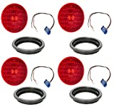Trucklite 4050-4+67090-4+91740-4 Red 4' Round LED Stop Turn Tail Lights, Grote 3-wire Pigtails with 90 Degree Connectors, and Grote 4' Round Rubber Open Back Light Grommets