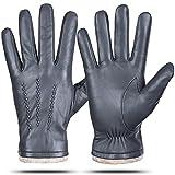 Guantes de cuero genuino para hombres, invierno cálido forro de cachemira pantalla táctil guantes de texto de conducción guantes de motocicleta, gris, XXL