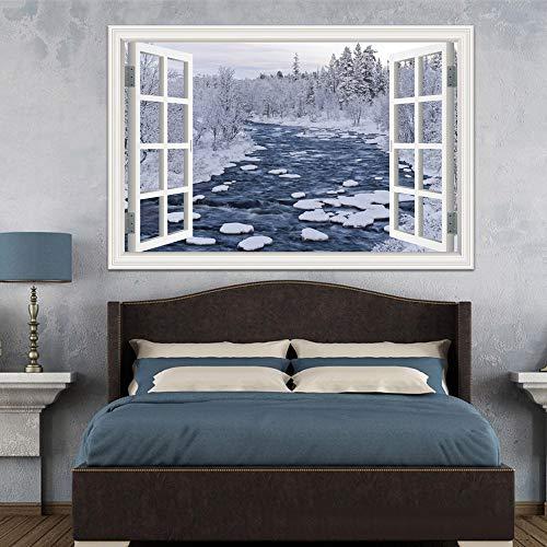 3D Amovible Arbre De Neige Autocollant Vue De La Forêt D'hiver Papier Peint Mur De Pvc Pour Le Salon Maison Vente Chaude Décor Stickers 60X90 Cm