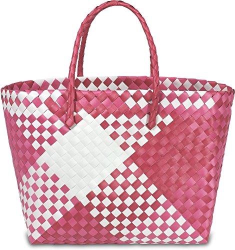 normani Einkaufstasche geflochten mit Henkeln - Tragetasche extra robust Farbe Retro Block/Pink
