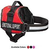 Emotional Support Dog Vest Harness With Reflective Straps, Interchangeable Patches, & Top Handle - ESA Dog Vest in 8 Sizes - Heavy Duty Emotional Support Dog Harness for Working Dogs (Red, XXS)