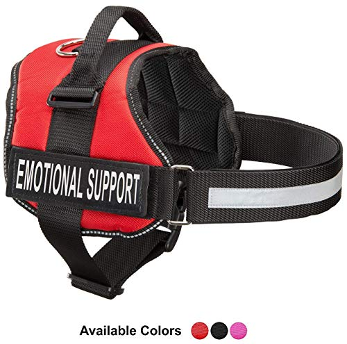 Emotional Support Dog Vest Harness With Reflective Straps, Interchangeable Patches, & Top Handle - ESA Dog Vest in 8 Sizes - Heavy Duty Emotional Support Dog Harness for Working Dogs (Red, Large)