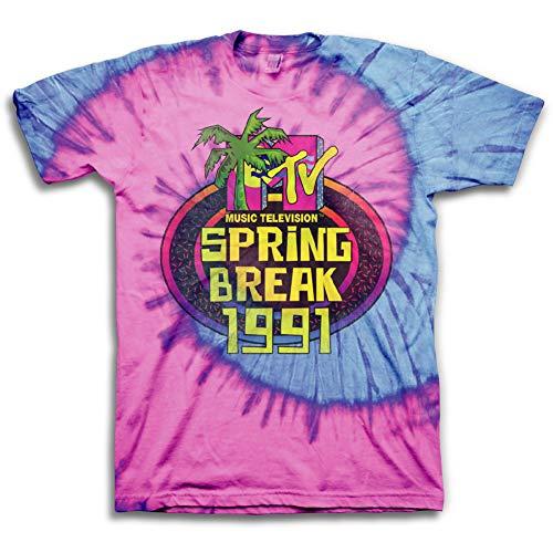 MTV Mens Tie Dye Shirt - #TBT Mens 1980's Clothing - I Want My T-Shirt (Spring Break, Small)