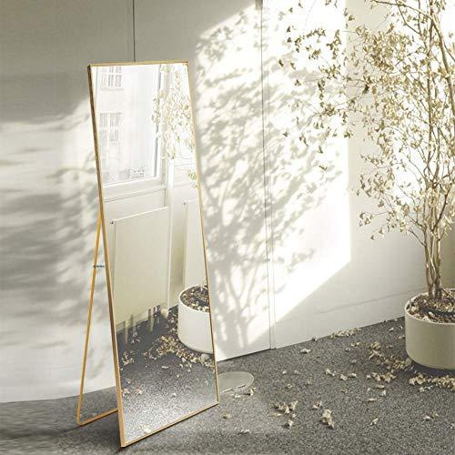 AUFHELLEN Miroir sur Pied 140x40cm HD Miroir avec Cadre en Métal avec Crochet pour Salon, Chambre ou Dressing 2 Couleur Choix Noir et Or