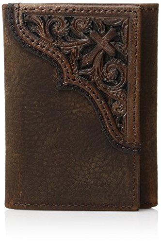 Ariat Men's Cross Corner Inlay Trifold Western Wallet, Brown, One Size