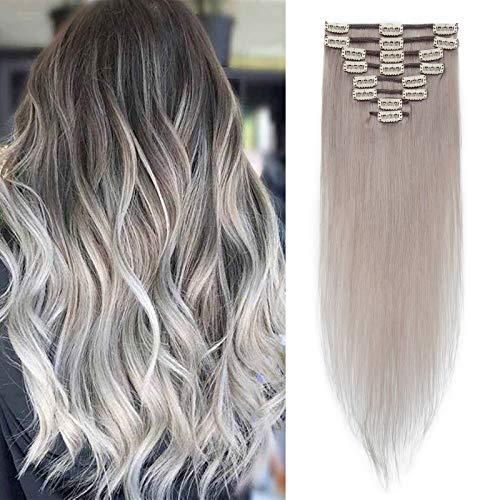 Silk-co Extension Capelli Veri Clip 8 Fasce #Grigio Remy Human Hair Extension 35 cm (60 g) Capelli Umani Brasiliani Full Head