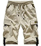 XinYangNi Women's Ease Into Comfort Modern Pull-On Bermuda Short with Pockets Khaki US 12-14