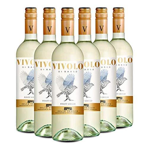 VIVOLO Pinot Grigio Delle Venezie DOC, Vino Bianco, si Abbina molto Bene a Tutti i Piatti a Base di Pesce, Ottimo anche con Carni bianche e Verdure, 6 x 750 ml, Made in Italy, 12% Vol
