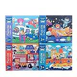 LianMengMVP 4 en 1 Puzzle Rompecabezas de Madera Rompecabezas de Animales para niños pequeños 1 2 3 Años Niños Niñas Juguete Educativo