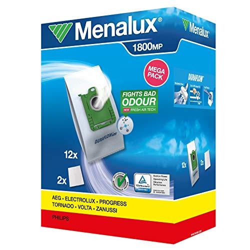Original Markenware Menalux 1800 Megapack, 12 Staubbeutel, Duraflow fresh mit Anti-Odour, Passend u.a. für s-bag, UltraSilencer, ClassicSilence, ASP 71, APF 61, Essensio, ErgoClassic, US, ACS, AEO, AP
