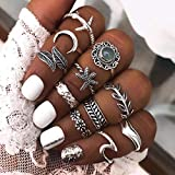 Woent 5-19pcs Boho Star Moon Knuckle Ring Silver Stackable Rings Set Finger Rings Jewelry for Women Girls (Silver 5)