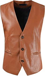 Waistcoat Men Faux Leather Solid Color V-Neck Button Waistcoat Spring and Autumn New Men's Retro Traditional Style Classic...