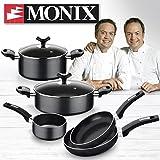 Monix Resistent Plus Batería De Cocina De 5 Piezas Y Lote De 2 Sartenes,...