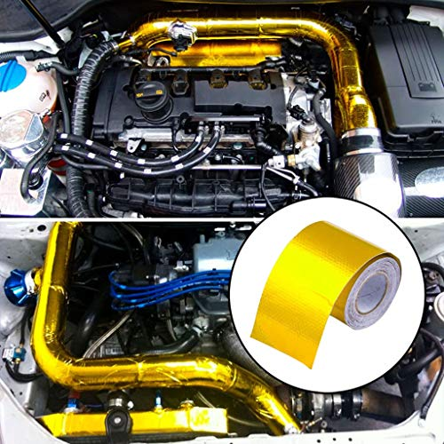 Longra Hitzeschutzband 10mx5cm Selbstklebend Reflektierendes und wärmeisolierendes Wickelband für Motorrad und Auto Hitzeschutzfolie Aluminiumfolienband