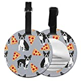 Bulldog and Pizza - Etiqueta Redonda para Equipaje de Mano, diseño de Maleta, Negro (Negro) - 5063178175968