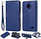 JEEXIA® Schutzhülle Für Motorola Moto E4, Magnetisch Abnehmbar PU Lederhülle Flip Cover Brieftasche Innenschlitzen 2 in 1 Handy-Hülle (ohne Saugnapf) - Blau