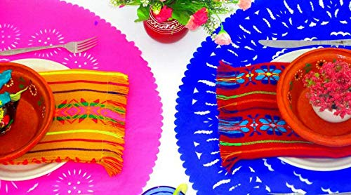 3 Pack of Mexican Papel picado Place mats, Fiesta Party Decorations, Mexican Centerpiece Table Decorations, Paper Doily 23 Inches Across, Perfect for Birthdays, Weddings Royal Blue, Pink, Turquoise