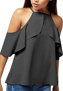 FRPE Women's Sleeveless Chiffon Ruffle Summer Plus Size Top T-Shirt Blouse