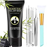 Blackhead Remover Mask Kit, Charcoal Peel Off Face Mask - PandyCare 3-in-1 Bamboo Charcoal Blackhead Face Mask For Skin Care with 5 Blackhead & Pimple Comedones Extractors & Brush - 2.12 FL.OZ / 60G