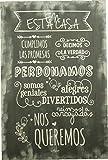 Enkolor Carteles Vintage Madera Frases Normas de la Casa Artesanal Granito 40X60