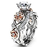 OldSch001 Womens Ring Silver & Rose Gold Filed Wedding Engagement Floral Rings Band (Silver, 7)