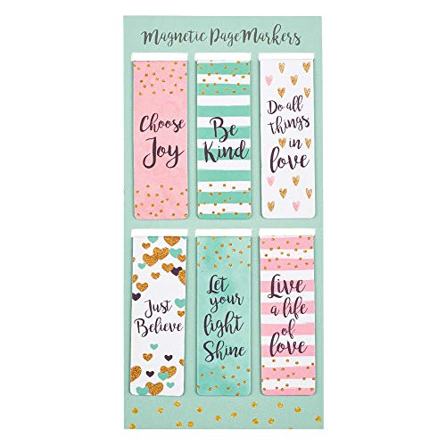 Christian Art Gifts Set of 6 Choose Joy Be Kind Just Believe Inspirational Magnetic Bookmark, Sparkle Collection, Size Small 2.25' x .75'