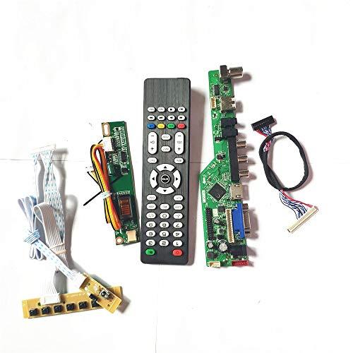 CLAA154WB05A/N LCD Panel Monitor LVDS 1CCFL 30Pin T.V53 Drive Card Board HDMI VGA USB AV RF Keyboard + Fernbedienung + Inverter DIY Kit (CLAA154WB05AN)