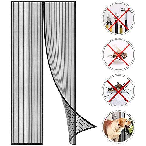 Magnetische vliegenhor, voor balkondeur, vliegengordijn, magneetgordijn, insectenbescherming, deurgordijn, max, eenvoudig te monteren, zonder boren, voor balkondeur, terrasdeur, kelderdeur en terrasdeur 100x250cm(39x98inch) zwart