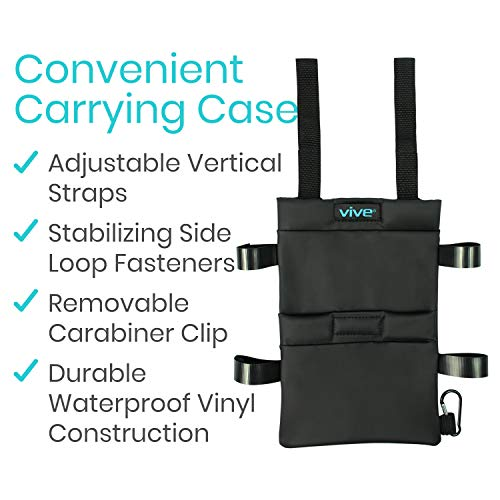 Crutch Bag by Vive - Medical Crutch Accessory Carryall Pouch - Tote for Broken Leg Crutches w/ Extra Pockets for Loose Items - Ergonomic & Lightweight Crutch Pouch Carryon