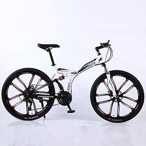 Mountain Bikes,Overdrive Aluminum Frame Trail Mountain Bike,Men Women Bicycle,24 Inch Big Wheels Hardtail Mountain Bike White 24',27-Speed