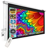 """Inlight Imported Motorised Projector Screen, 10 Ft. x 6 Ft, 133"""" Dia, in 16:9 Format, Supports 1080 P, 3D and 4K Ready Technology, with Cordless Remote 1080 projectors May, 2021"""