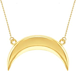 Fine 14k Yellow Gold Upside Down Crescent Moon Necklace