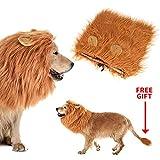 Calevin Disfraz de Melena de león Dog Peluca de león con Oreja para la Fiesta de Navidad de Halloween El Pelo de Perro Divertido se Adapta a Mascotas de Perro de Mediano a Grande